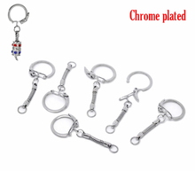 Doreen Box hot-  20 Chrome color Key Chains&Rings Fit European Bead Keychain 6cm (B12283)