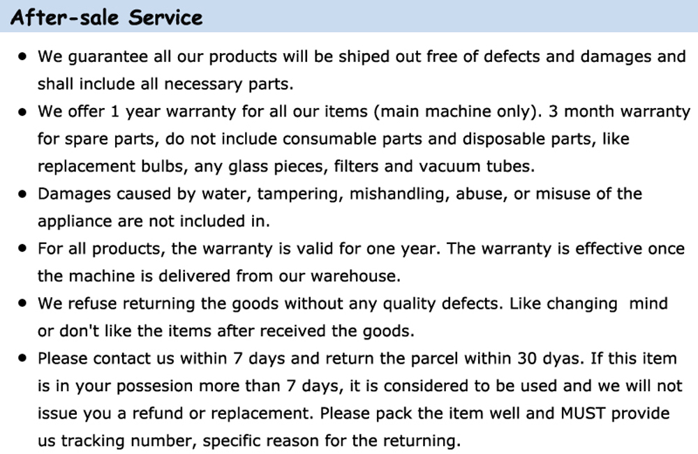 1000 5.after-sale service details
