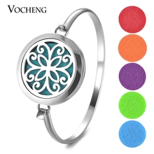 Perfume Essential Oil Diffuser Locket Bracelet 316L Stainless Steel Bangle Magnetic Randomly Send 5pcs Oil Pads as Gift VA-567(China)