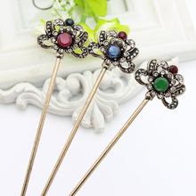 Vintage Turkish Women Hollow Flower Hair Clasp Mellow Resin Jewelry Retro Gold Color India Hair Sticks Arabia Bride Bun Hairpin(China)