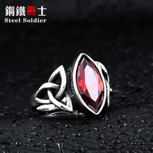 steel soldier film style men thor ring with blue stone fashion high quality 316l stainless steel jewelry