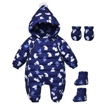 Newborn Baby Rompers Winter Down Clothes Cartoon Girl Boy Clothing Long Sleeve Hooded Boys Girls Infant Jumpsuits Product 0-18M(China)