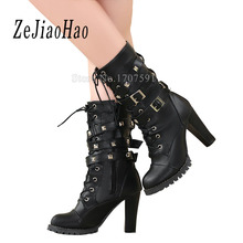 Fashion designer high heel Shoes for women cheap black winter suede ladies ankle boots platform western woman footwear E02(China)