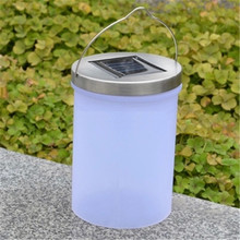 Outdoor Bucket-shaped Solar Light Waterproof Hanging Cylinder Lanterns Lamp Landscape Path/Yard/Garden Patio Lights Grass lamp