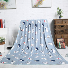 Blue Pink Bull Terrier Printed Flannel Fabric Baby kid Bed Blanket Cover for Sofa/ Travel/ Car Plaids 200X150cm