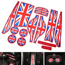 14pcs/set Silicone red union jack car cup gate Siliconeslot mats for mini cooper Countryman R60 interior accessories car-styling(China)