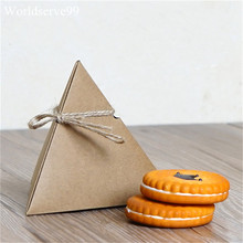 20pcs Triangular Kraft Paper Wedding Candy Boxes Sweet Holder Birthday Party Gift Favor Chocolate Biscuit Cookie Box