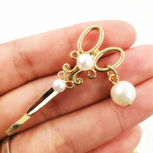 Timlee H071 Free shipping Grace Fashion Imitation Pearl Scissors Hair Clip Barrettes Girls Lovely Hair Accessary Gift(China)