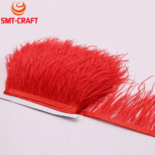 Hot sale 10 meters 10-15CM Top quality Red real ostrich feather trims for skirt/dress/costume ribbon feathers trimming Wholesale(China)