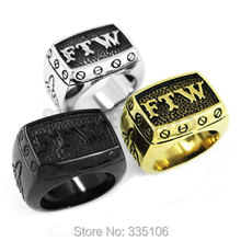 Wholesale FTW Middle Finger Motor Biker Ring Stainless Steel Jewelry Silver Black Gold Mechanical Screw Men Boys Ring R0376SEA