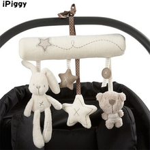 Hand Bell Multifunctional Plush Toy Cute Rabbit baby music hanging bed safety plush toy Stroller Mobile Gifts Toys For Children