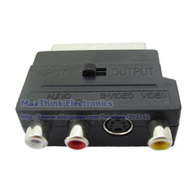 Component RGB SCART Male to 3-RCA Female & an S-Video socket A/V Adaptor ,10pcs , Free shipping