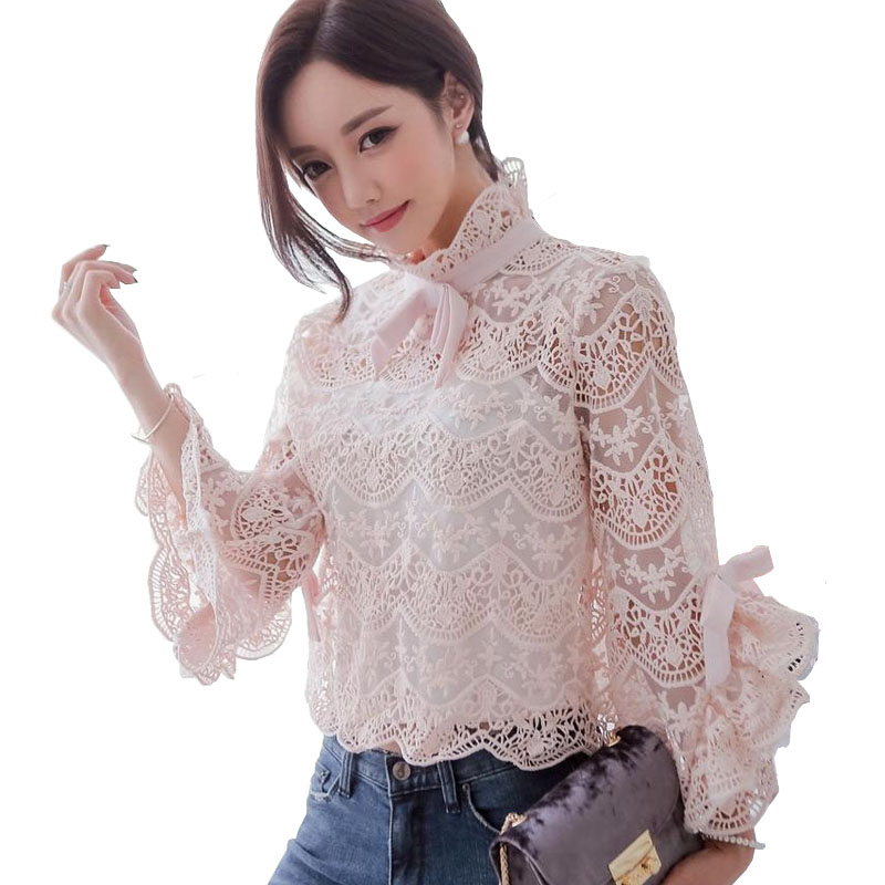 Autumn 2018 Ladies Cute Lace Blouse Shirt High Neck Full Flare Sleeve Croche Light Pink Blouse Ruffle Top Camicia Donna Dentelle