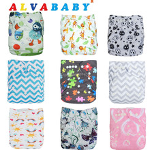 Alva Wholesale Double Row Snaps 10pcs Baby Cloth Nappies with 10pcs Bamboo Inserts(China)