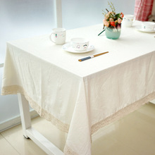 Linen Cotton Tablecloths For Rectangular Tables White LaceTable Cover Linen Table Cloth Crochet Lace Toalhas Mesa(China)