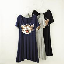 2014 new European & American women Modal cat print dresses summer fashion design girls novelty dress low price sale
