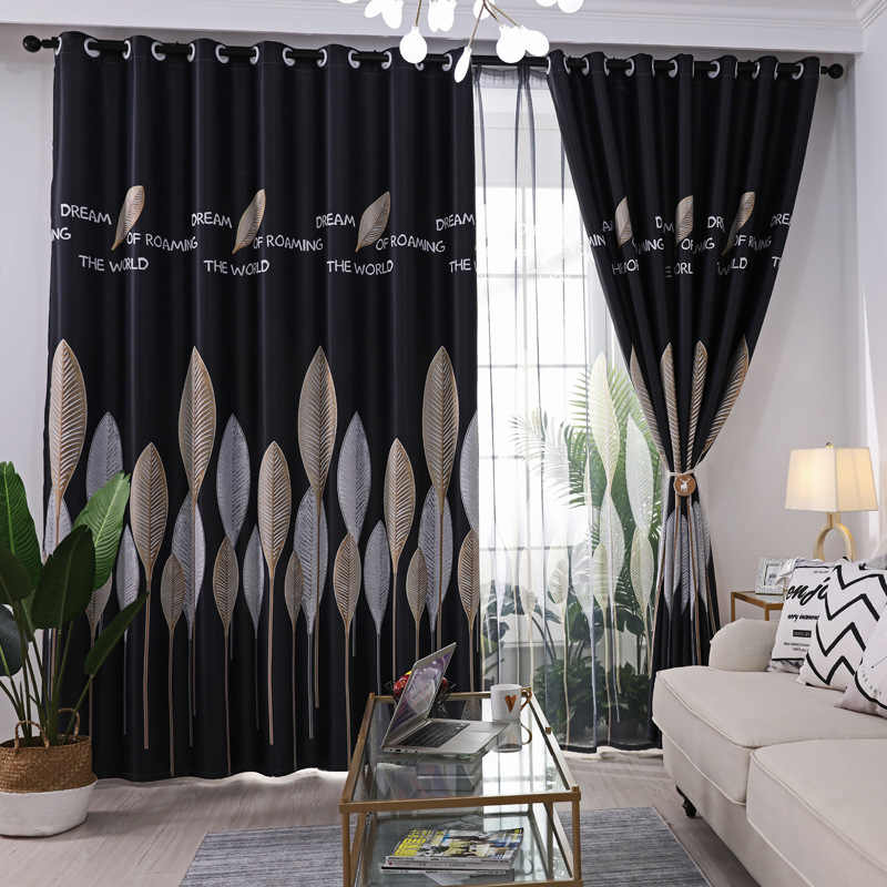 Nordic Leave Print Curtains for Bedroom Simple Pastoral Countryside Rural New Home Blackout French Window Cortinas JS45C