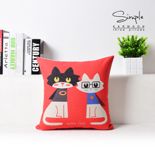 Cute Cartoon Cat Pattern Pillow Home Decorative Cotton Linen Square Cushion Sofa/bed/cars Nap Throw Wholesaler