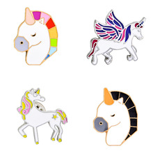 2017 New Creative Brand 4 Style Cartoon Brooch Pegasus/ Unicorn / Color Horse Head /Brooch Female Jewelry Badge Fashion Bag Suit(China)