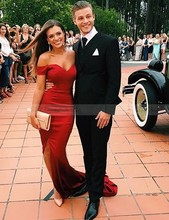 Red Mermaid Off the Shoulder Leg Slit Sweep Train Prom Dresses with Sleeves 2017 Vestido de Fiesta Longo Backless Evening Gowns