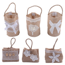 Multi-types Fashion Bags DIY Wedding Party Decoration Green Burlap Bags cute Bags Candy Bags Mini Gift Sack for any party