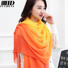 190*100cm 2016 New Winter Spring Womens Long Cotton Scarf Fashion cachecol Gradual Scarfs Foulard Colorful Infinity Scarf Pareos