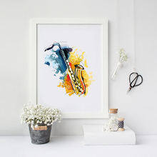 Abstract Musical Instruments Saxophone Wall Art Print Poster , Watercolor Canvas Jazz Painting Picture Saxophone Decoration