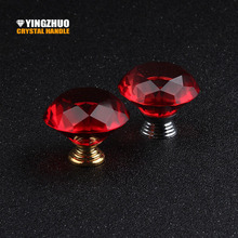 40mm Color Red Crystal Glass Handle Furniture Accessories Drawer Cabinet Knob Metal Handle 10pcs / lot sales Gold Silver choice(China)