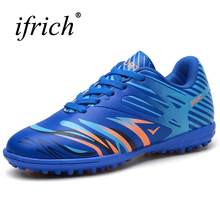 2017 Football Shoes for Men Kids Size 35-44 Tf Soccer Shoes Orange/Pink Soccer Cleats Original Lace Up Indoor Football Sneakers