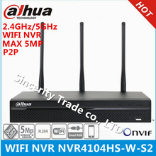 Original DAHUA NVR4104HS-W-S2 5MP WIFI NVR 4 Channel Compact 1U WiFi Network Video Recorder Support 2.4GHz and 5GHz dual-bands