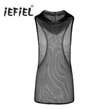 bead9e96ea18a iEFiEL Mens Fishnet See-through Super Light Hooded Vest Waistcoat Tank Top  Clubwear Undershirt Wetlook