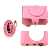 CES-for fuji xq1 Digital camera PU Leather Case Camera Case with Shoulder Belt (pink)(China)