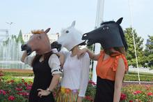 free shipping 25pcs/lot Creepy Horse Mask Head Halloween Costume Theater Prop Novelty Latex Rubber
