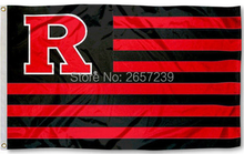 Rutgers Scarlet Knights with Stripes Flag 3x5FT NCAA banner 100D 150X90CM Polyester brass grommets custom66(China)