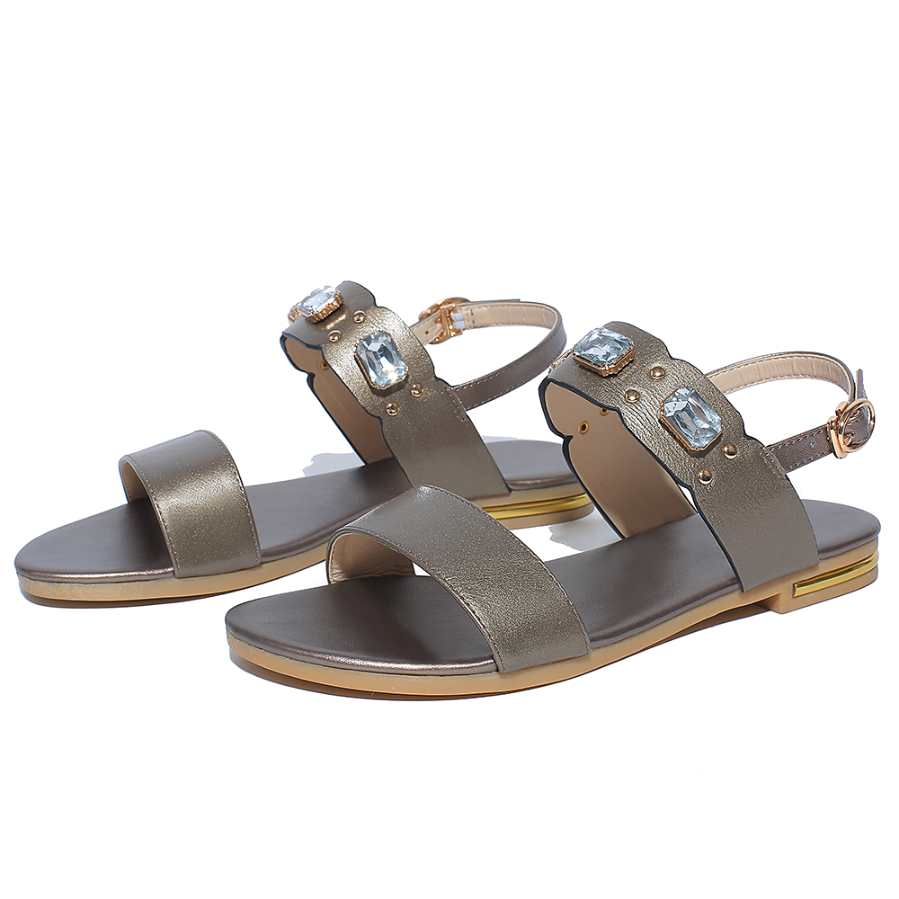2018 New Fashion Genuine Leather gladiator Sandals women Summer Ladies Dress shoes woman Beach Shoes Flat Sandals