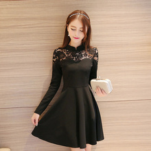 New Autumn Womens Dresses Long Sleeve Slim Vintage Dress Beautiful Princess School Dress Female Black Lace Dress Women