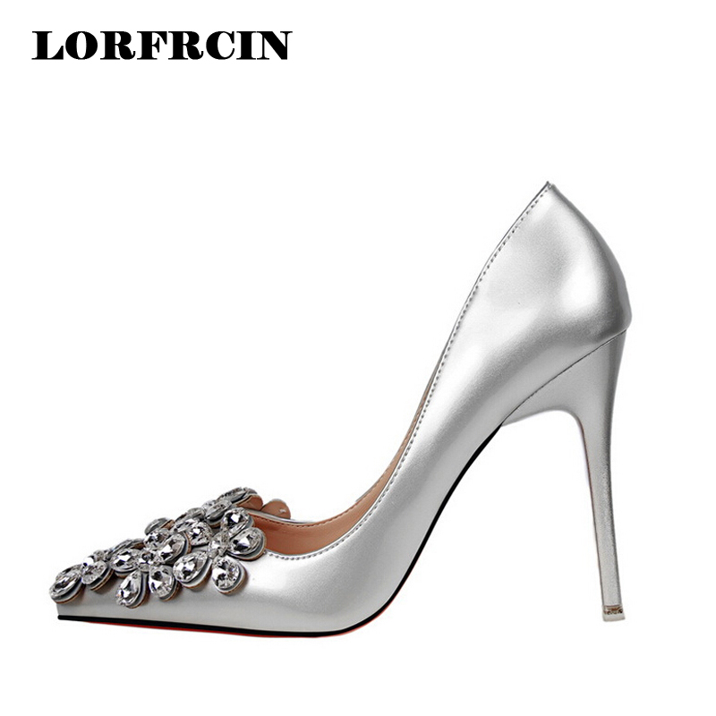 Fashion Patent Leather Bridal shoes Women Pumps Pointed Toe High Heels Shoes Woman Rhinestone Wedding Party Women Shoes<br>