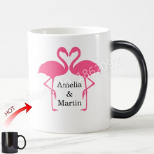 Novelty Pink Flamingos Love Mug Personalised Flamingo Coffee Mug Heat Color Change Cup Chic Anniversary Wedding Valentine Gifts(China)