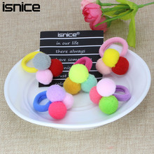 Buy isnice Fashion Kids Candy Color Rubber Bands Headwear Hair bands girls hair accessories Cute 3 Balls Elastics Hair Holders Gum for $1.86 in AliExpress store