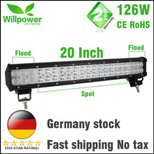 FREE TAX 12v dual rows led driving light IP67 waterproof work light 126W 20 inch offroad car led light bar(China)