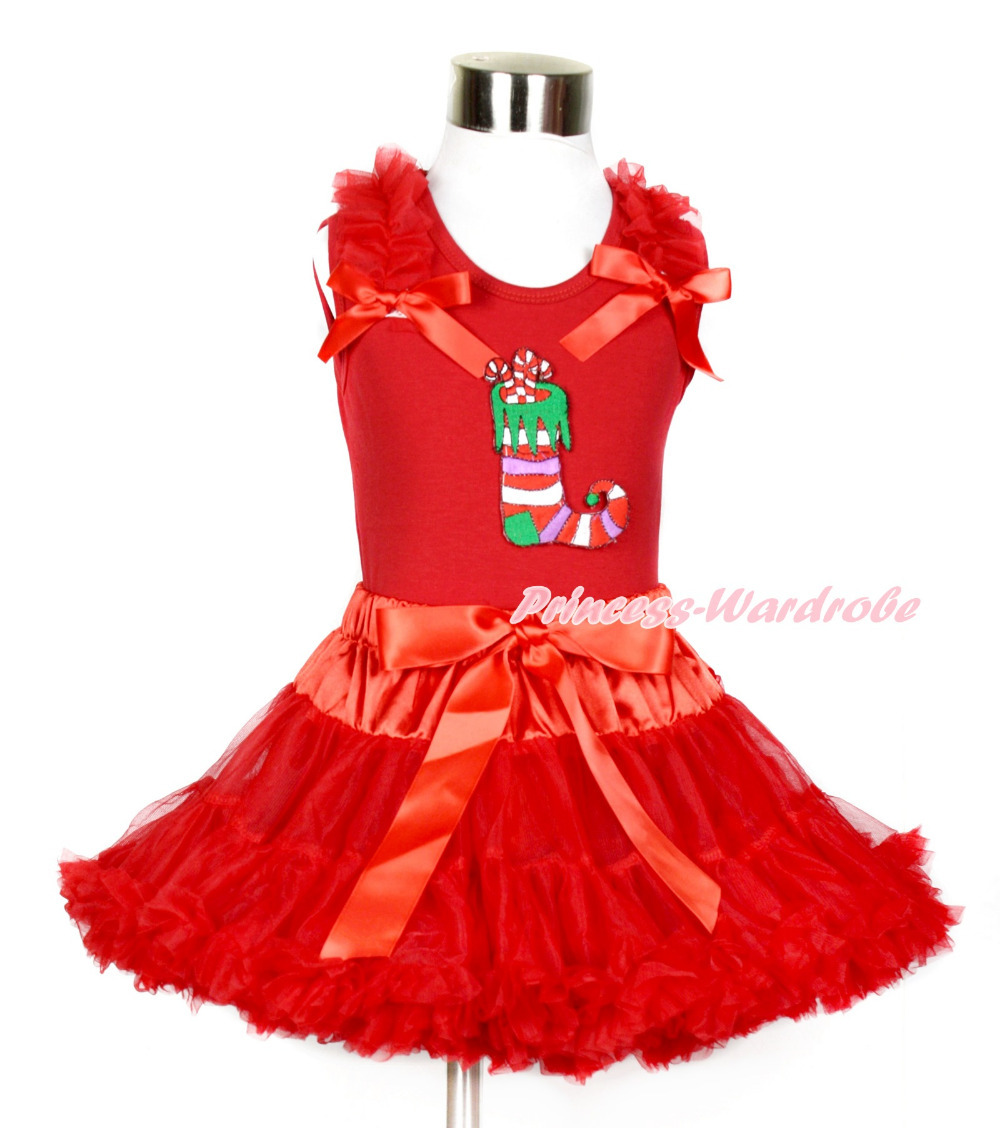 Xmas Red Tank Top with Christmas Stocking Print with Red Ruffles &amp; Red Bows With Red Pettiskirt MACM174<br>