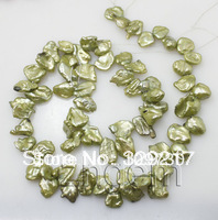"Jewelry 00414 8-9mm*11-13mm keshi light green pearl loose beads gem stone 15"" long strand"