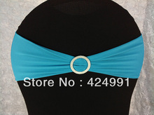 Big Discount Light Turquoise Blue Lycra Chair Bands with Round buckle,Lycra Chair Cover  Bands for Weddings Events Decoration