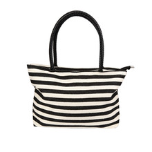 New Women Hangbag Black&White Stripe Canvas Bag Vintage Fashion All-Match Handbag Bolsa Feminina sac a main #0(China)