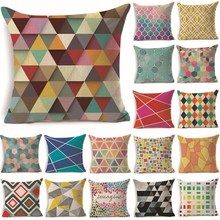 1Pcs 43*43cm Colorful Geometric Pattern Cotton Linen Throw Pillow Cushion Cover Car Home Sofa Decorative Pillowcase 40231