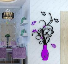 DIY Modern 3D Crystal Acrylic Three-dimensional Vase Wall Stickers Purple  Red Color Flower Vase Wall Decor For Living Room Wall
