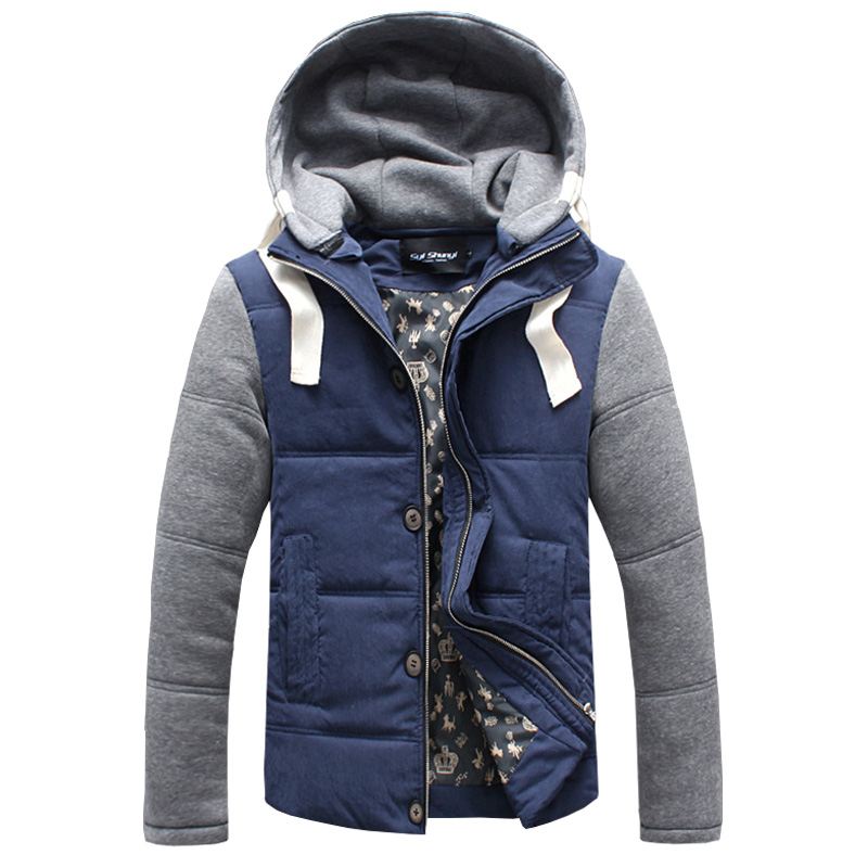 2016 Winter Coat Men blue Thickening jacket warm fashion male overcoat outwear cotton padded hooded coat Large sizeОдежда и ак�е��уары<br><br><br>Aliexpress