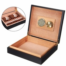 Mayitr Portable Travel Cigar Storage Case Box with Humidor Humidifier Hygrometer Cedar Wood Lined Box Case Black(China)