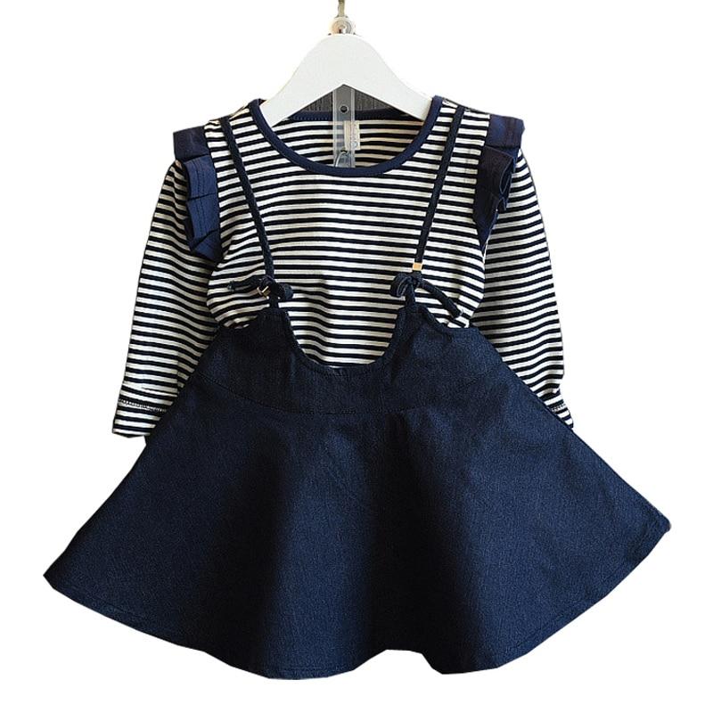 Party Girls Dress Suit Autumn &amp; Spring Striped Cotton  Long Sleeve Top+Denium Mini Suspender Skirt Set Little Princess Costume <br><br>Aliexpress