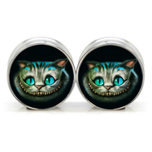 1 pair plugs stainless steel Cheshire cat double flare ear plug gauges tunnel body piercing jewelry PSP0022(China)